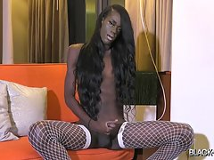 Skinny But Plenty is ready for more! Debuted with a banging hardcore scene on Black TGirls Hardcore, followed by a hot solo introduction, gorgeous Skinny returns to give you something extra this time! Her long legs look incredible in those white stockings