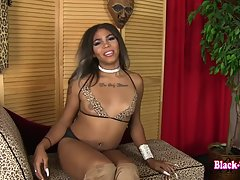 Heaven is a stunning black tgirl with an amazing body, sexy natural breasts, a perky bubble butt, nice cock and legs that go on forever! Watch this sexy Grooby girl shaking her ass and playing with her delicious cock!