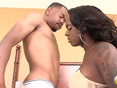 Sexy Chanel Cakes is a hot black tgirl with a nice body, small sexy breasts and a sexy bubble butt! In this smoking hot hardcore Chanel gives Mini Stylez a sexy blowjob before she takes his hard cock as they start fucking hard! Enjoy!